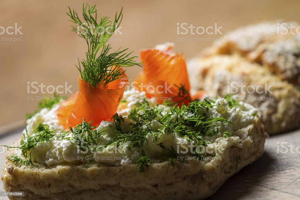 Sandwich made of cottage cheese, salmon and dill royalty-free stock photo