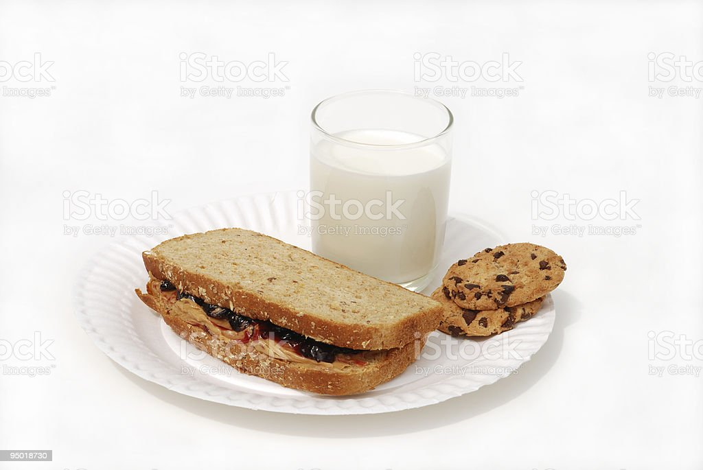 PBJ sandwich  milk and cookies royalty-free stock photo