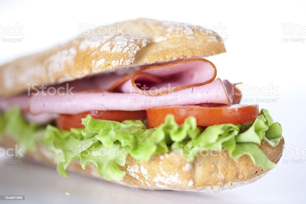 sandwich of ham lettuce and tomato royalty-free stock photo