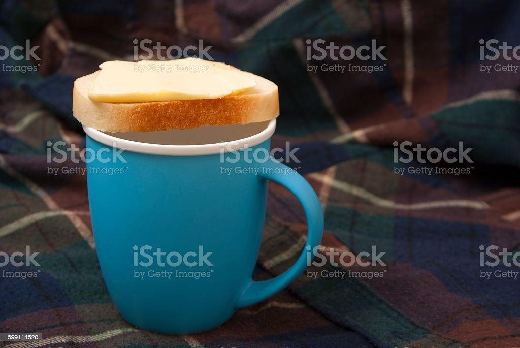 Sandwich on a blue cup royalty-free stock photo
