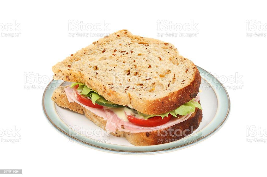 Sandwich on a plate stock photo