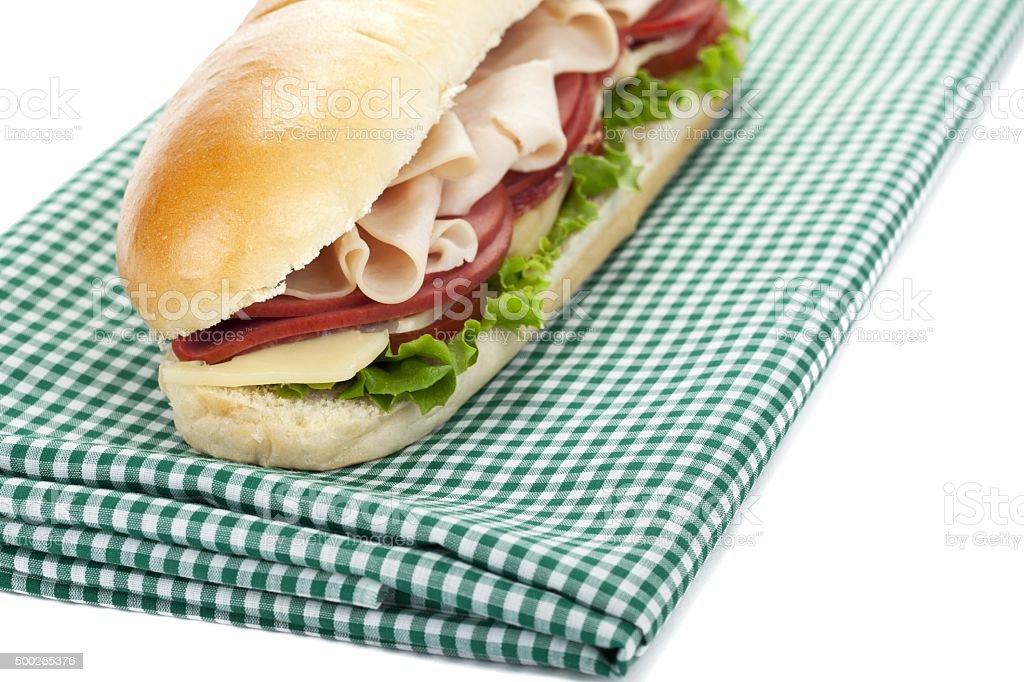 sandwich on a table cloth stock photo