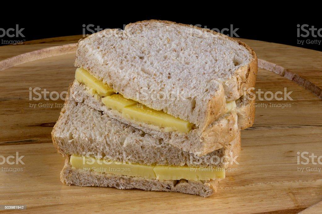 Sandwich on a Wooden Cutting Board stock photo