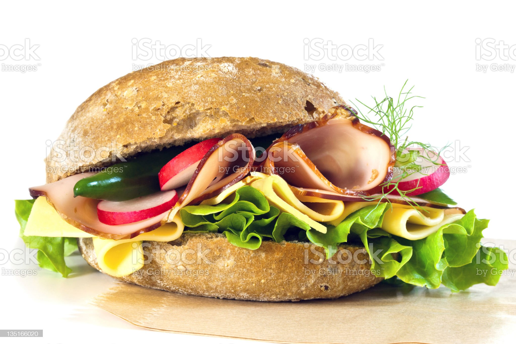 Sandwich on paper royalty-free stock photo