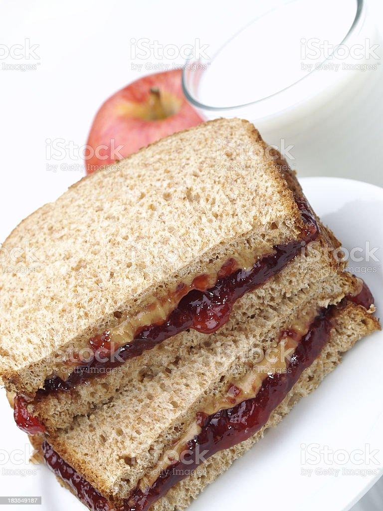 PB&J Sandwich on Whole Wheat stock photo