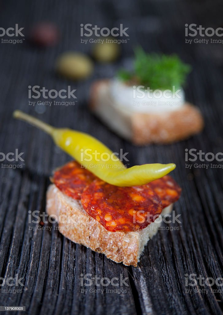 Sandwich on wooden table royalty-free stock photo