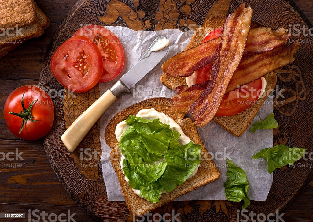 BLT Sandwich (Bacon, Lettuce, and Tomato) stock photo