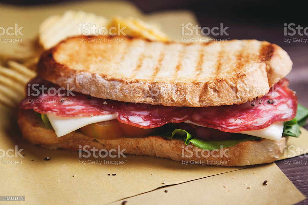 sandwich salami and cheese stock photo