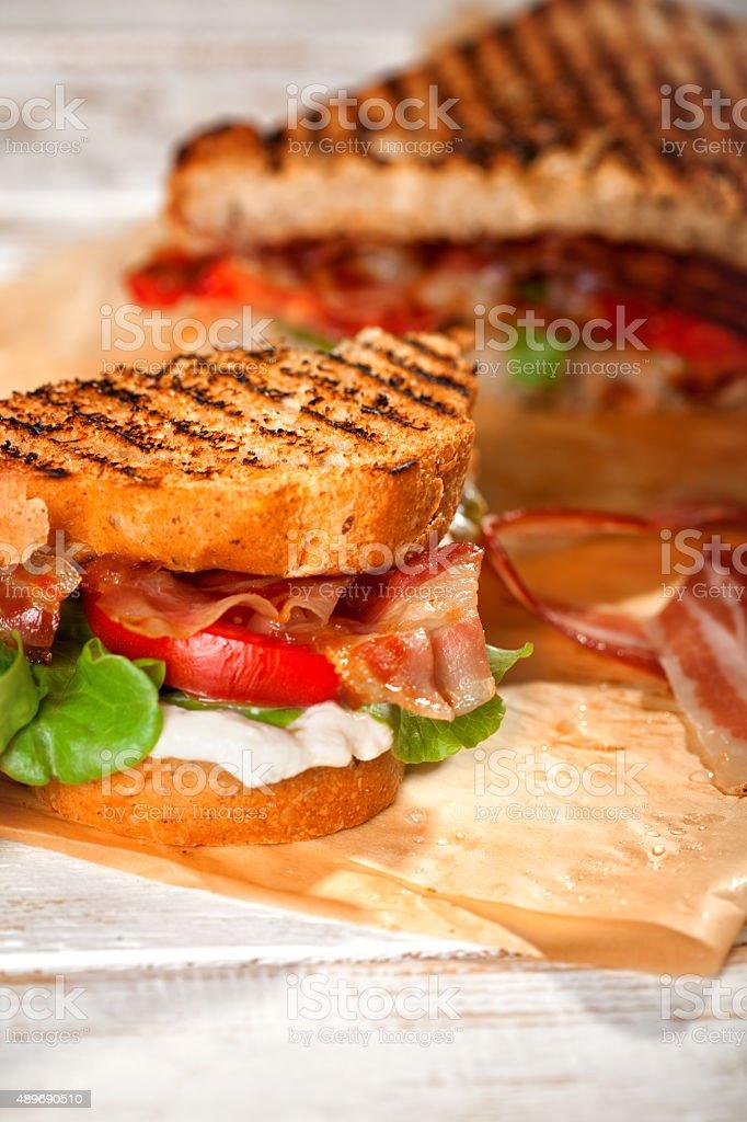 BLT Sandwich  - selective focus stock photo