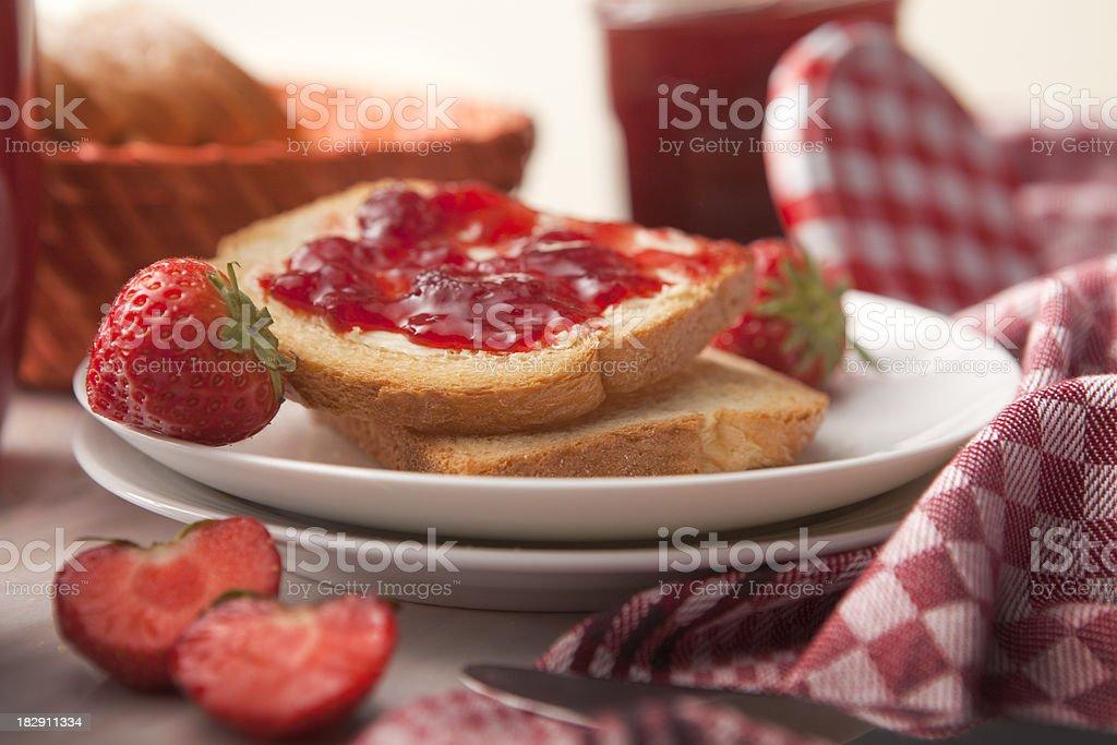 Sandwich Stills: Toast with Strawberry Jam royalty-free stock photo