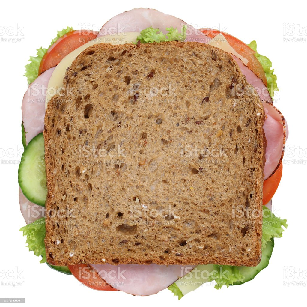 Sandwich toast bread for breakfast with ham top view isolated stock photo