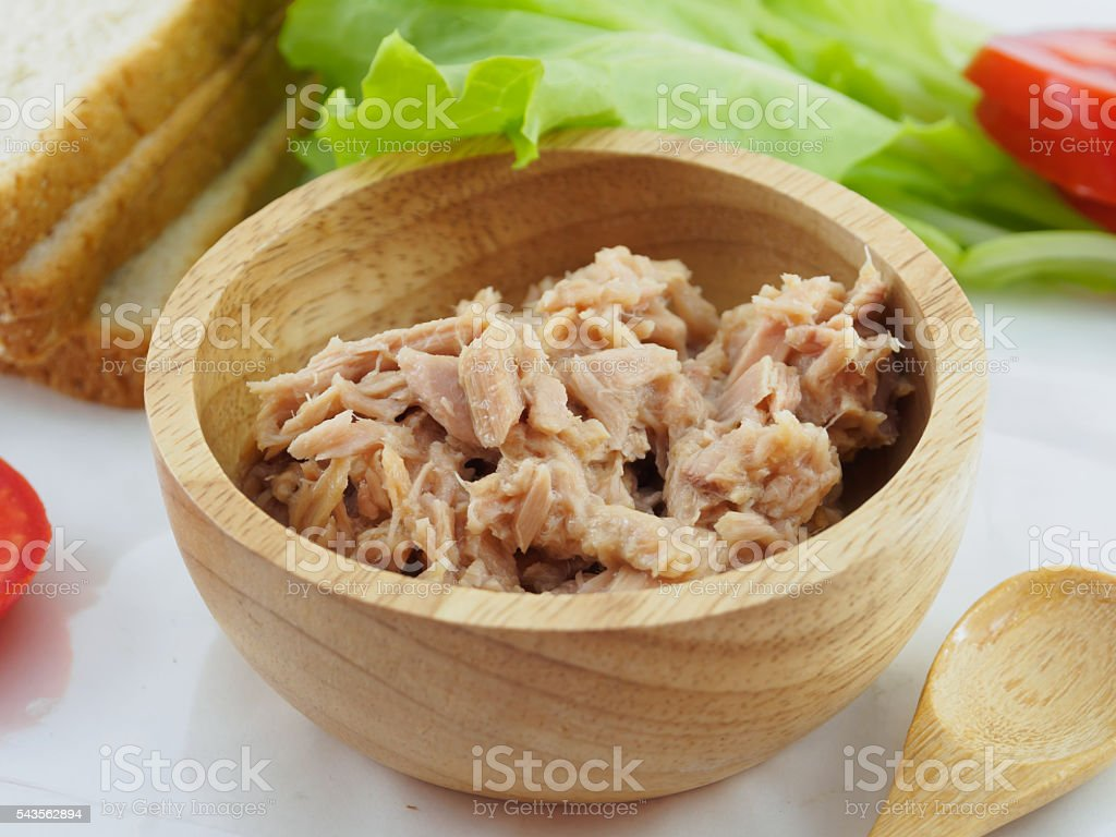Sandwich tuna in wooden bowl stock photo