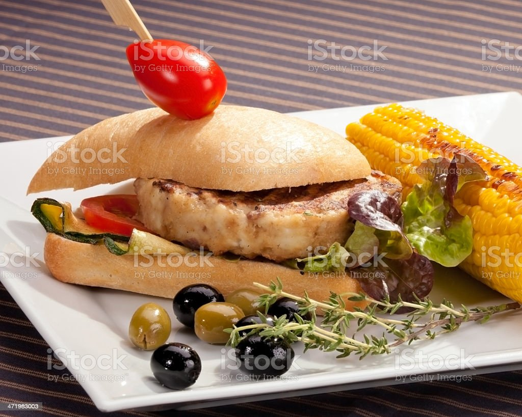 Sandwich w meat grilled corn and aubergine royalty-free stock photo