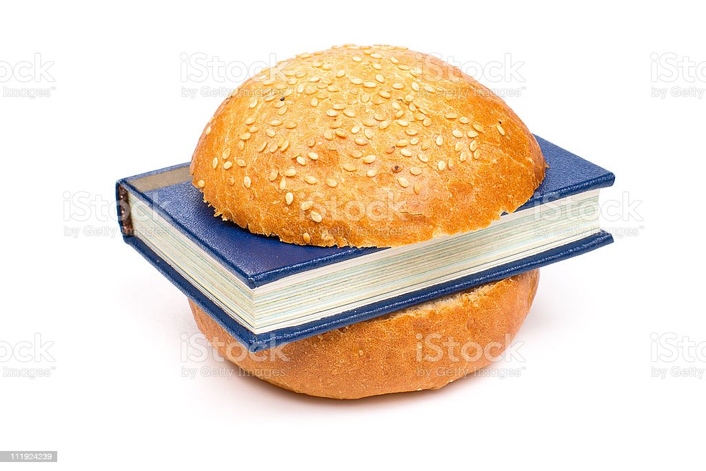 Sandwich with a book royalty-free stock photo