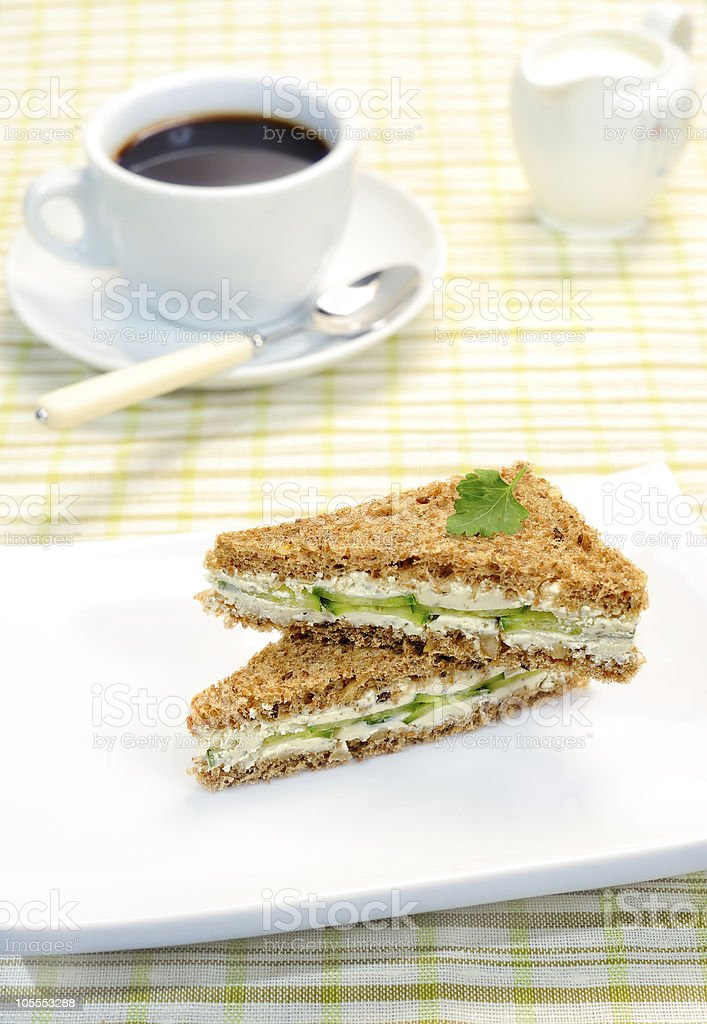 Sandwich with a cucumber royalty-free stock photo