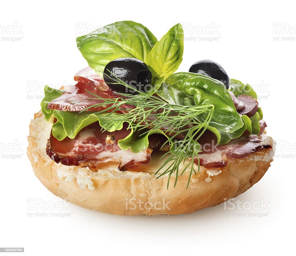 Sandwich with bacon and salad royalty-free stock photo