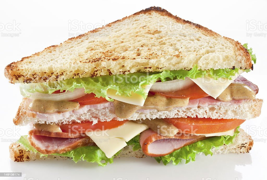 Sandwich with bacon and vegetables royalty-free stock photo
