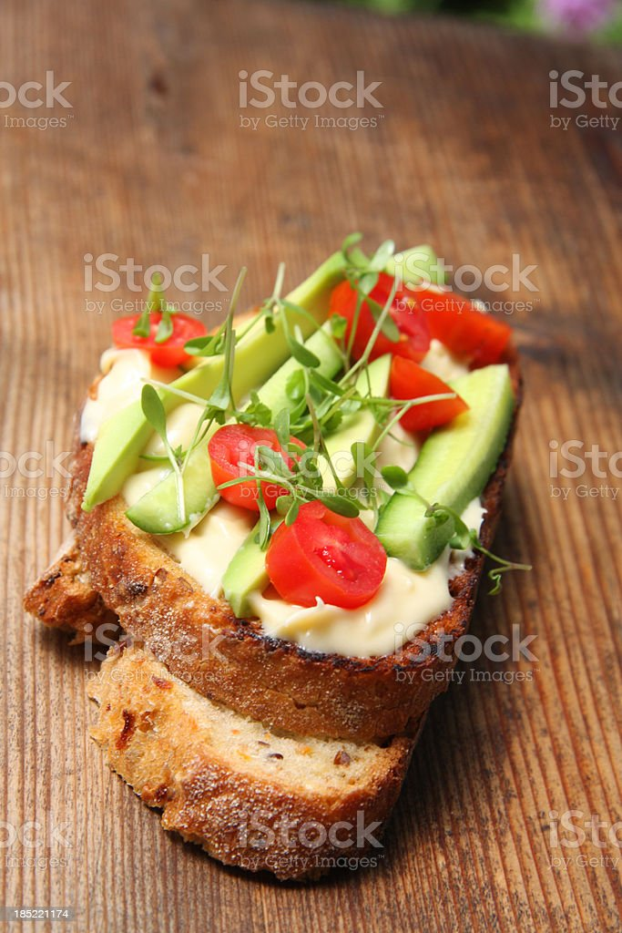 Sandwich with  Bearnaise sauce, healthy bread  and vegetables stock photo