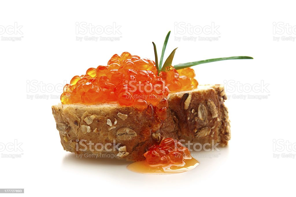 Sandwich with butter and salmon roe. royalty-free stock photo