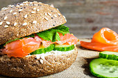 Sandwich with cereals bread and salmon for healthy breakfast
