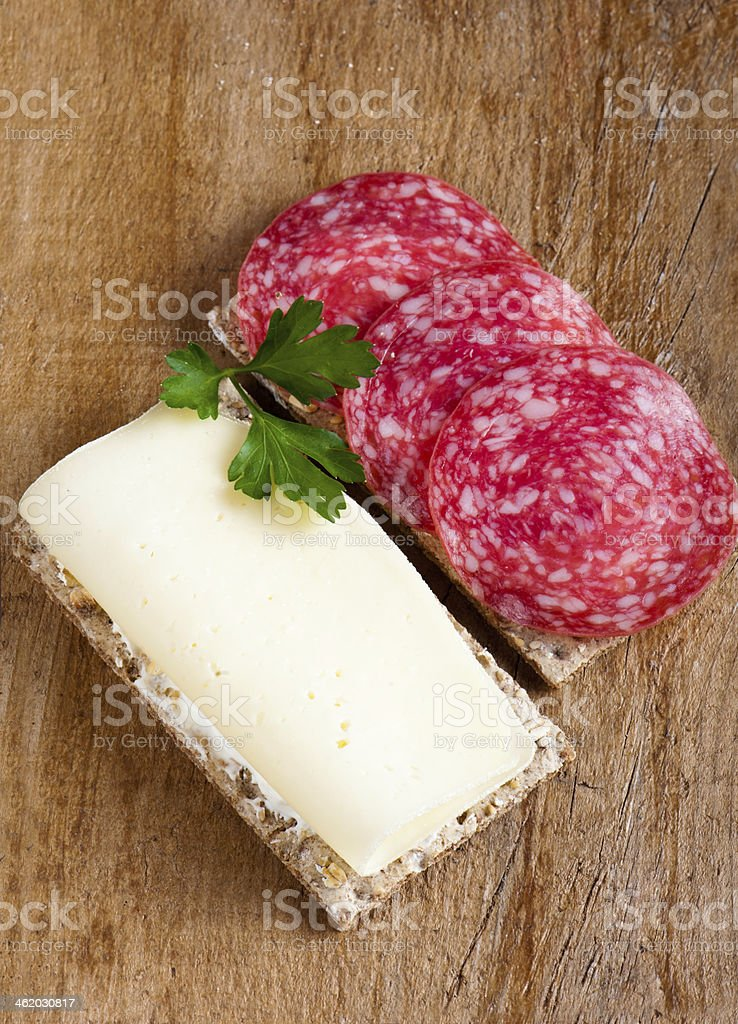 Sandwich with cheese and salami stock photo