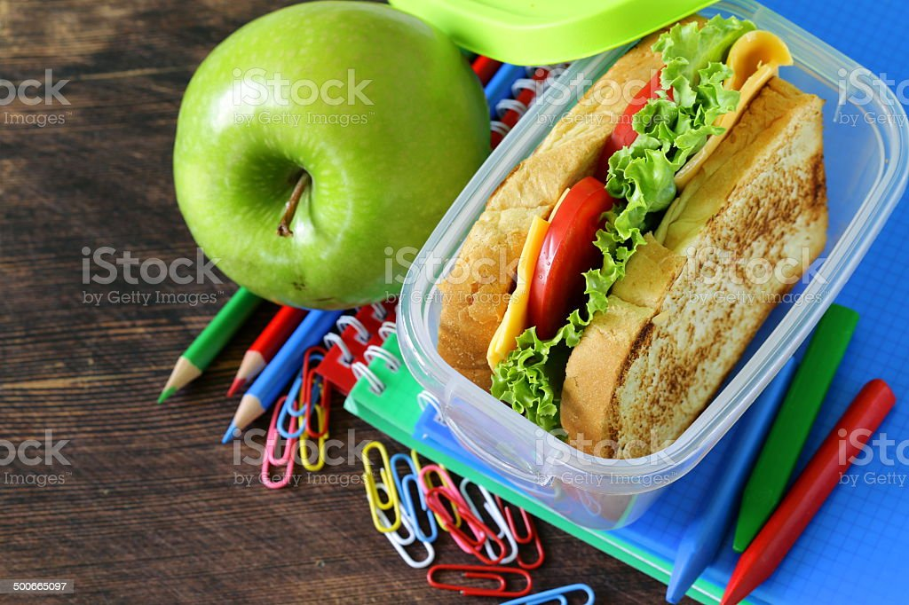 sandwich with cheese and tomato for a healthy school lunch stock photo