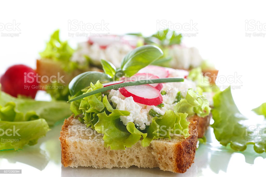 sandwich with cheese, radish and lettuce stock photo