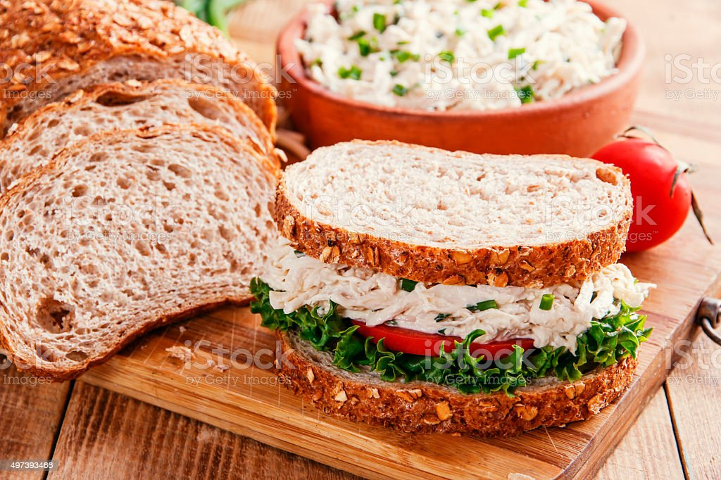 sandwich with chicken salad tomato stock photo