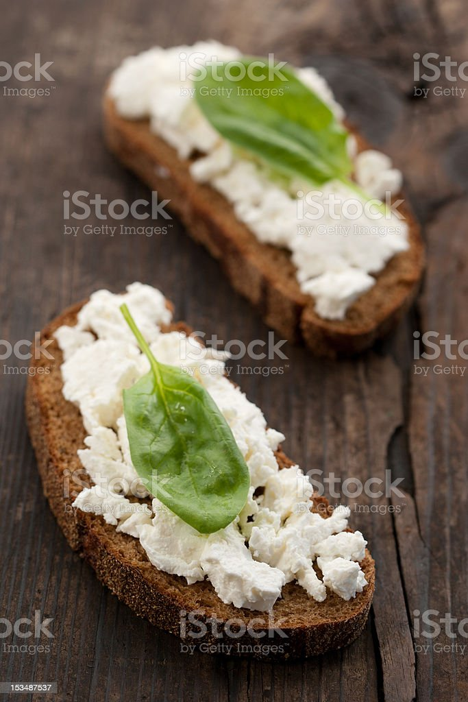 Sandwich with cottage cheese and spinach royalty-free stock photo