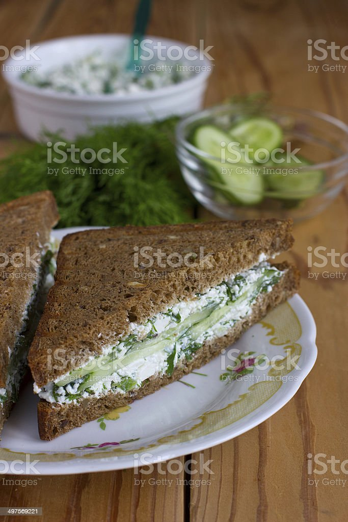 Sandwich with cottage cheese, cucumber and dill stock photo