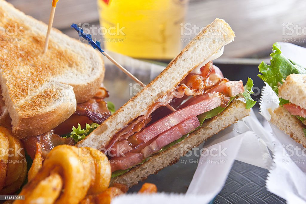 BLT Sandwich with curly Fries royalty-free stock photo