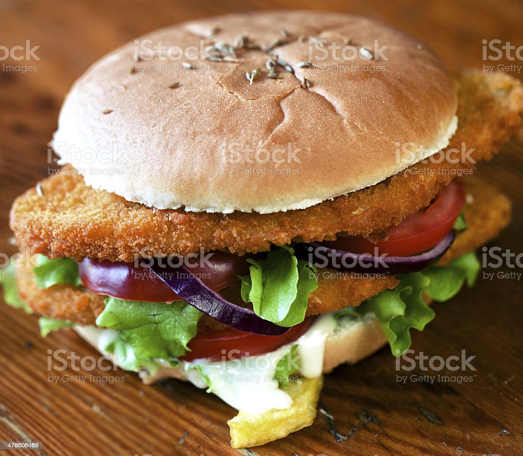 Sandwich with cutlet stock photo
