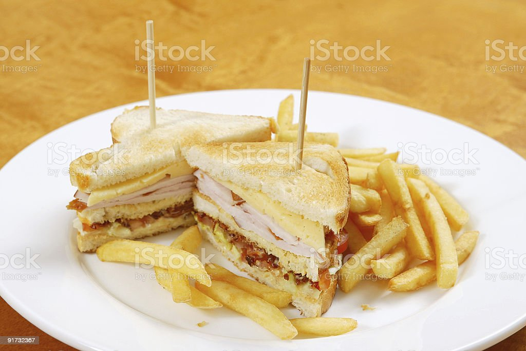 sandwich with french fries royalty-free stock photo