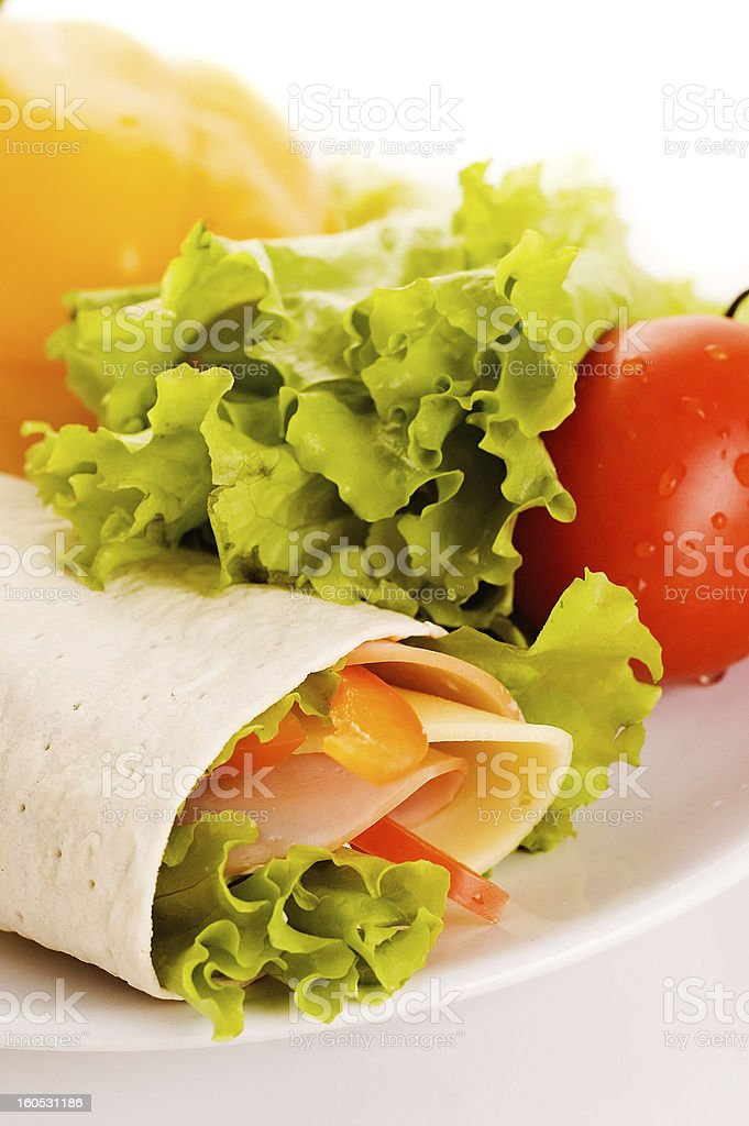 sandwich  with fresh vegetables royalty-free stock photo