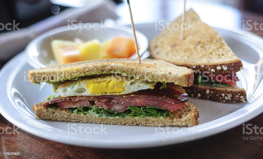BLT Sandwich with Fried Egg royalty-free stock photo