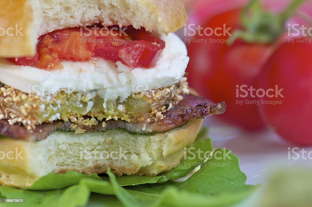 BLT Sandwich with Fried Green Tomato stock photo