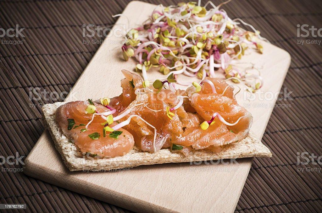 Sandwich with gravlax salmon royalty-free stock photo