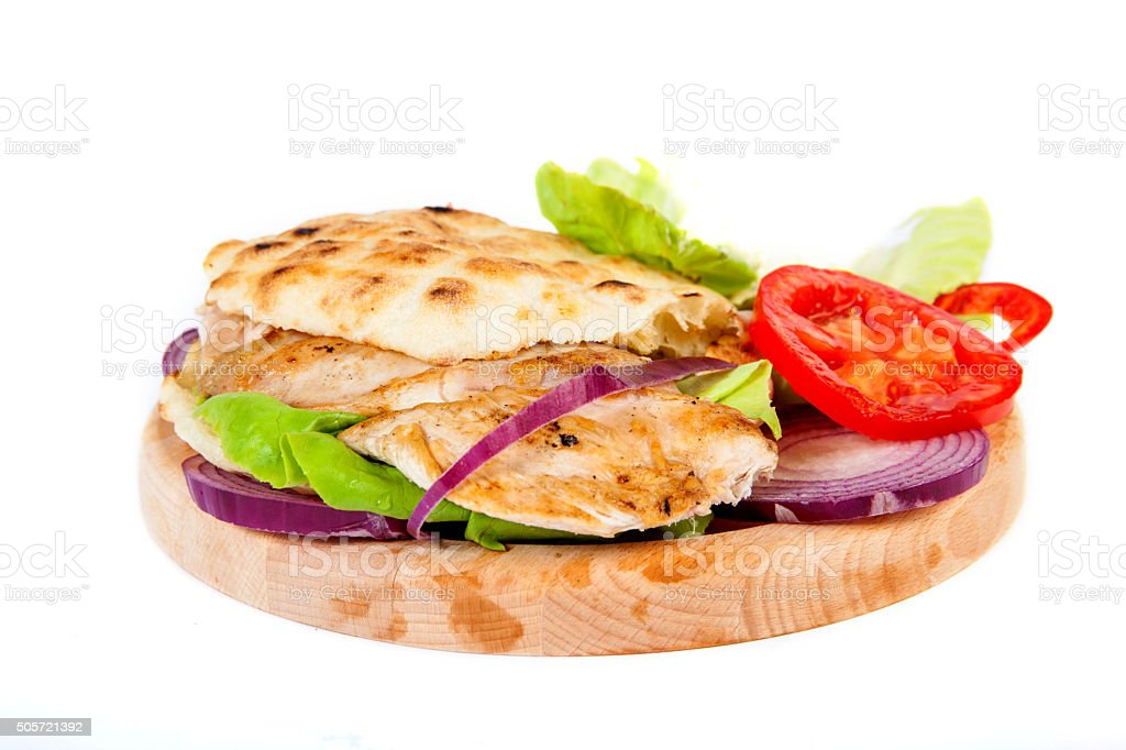Sandwich with grilled chicken stock photo
