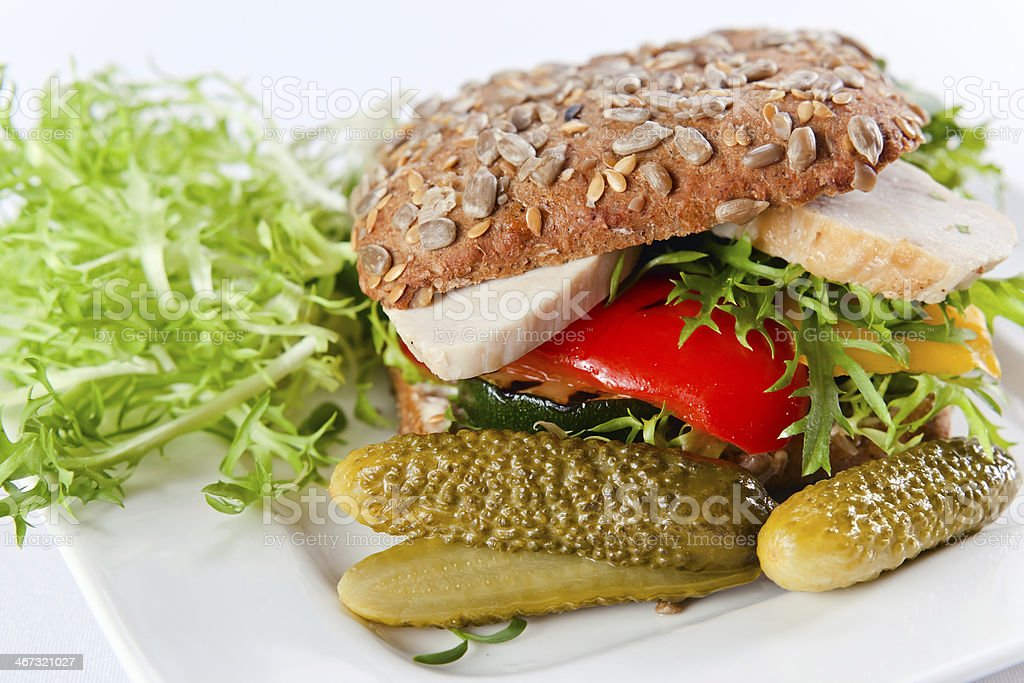 sandwich with grilled vegetables and chicken royalty-free stock photo