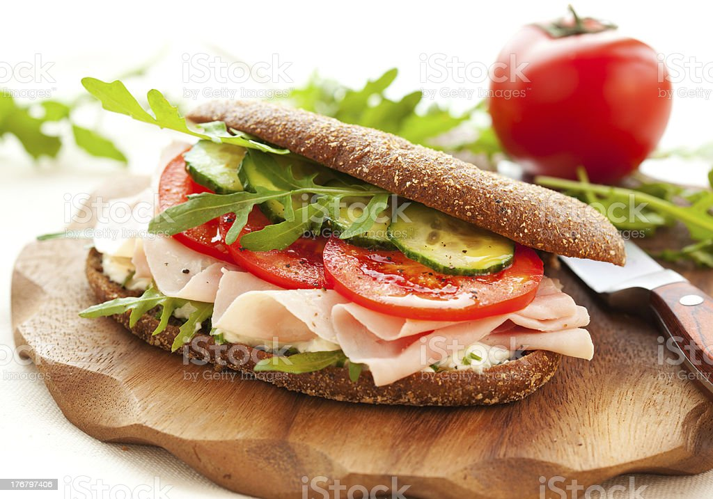 Sandwich with ham and vegetables royalty-free stock photo