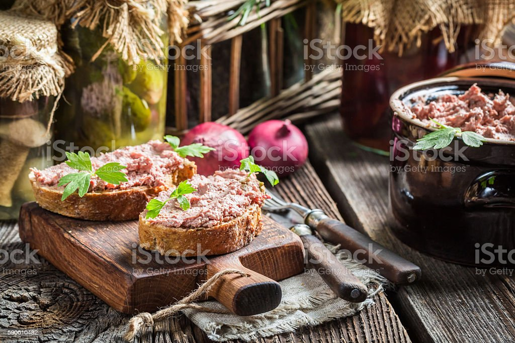 Sandwich with homemade pate stock photo