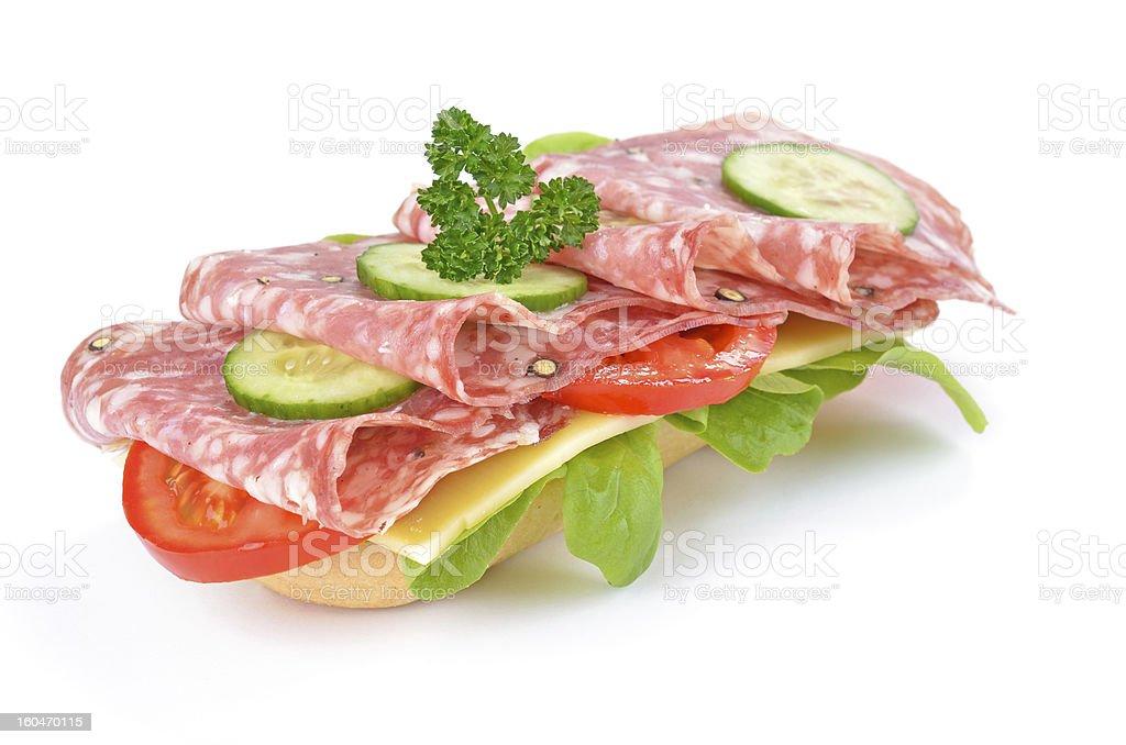 Sandwich with Italian salami royalty-free stock photo