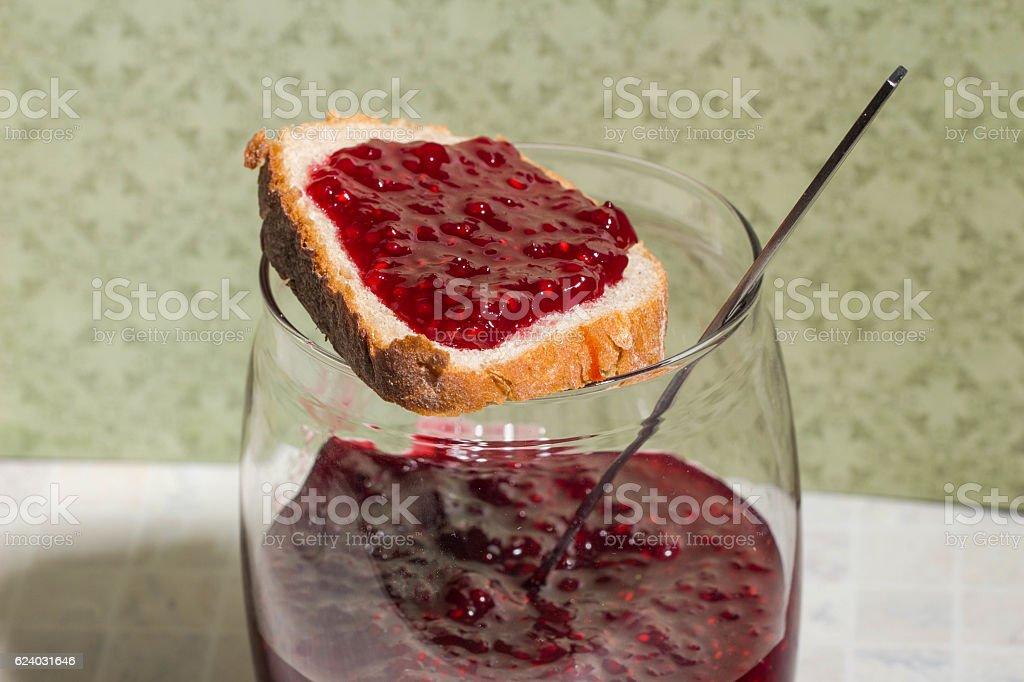 sandwich with jar raspberry jam stock photo