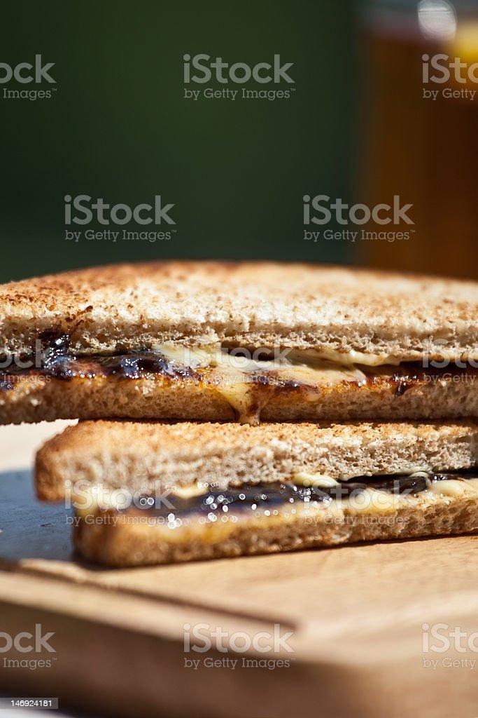 Sandwich with marmite stock photo