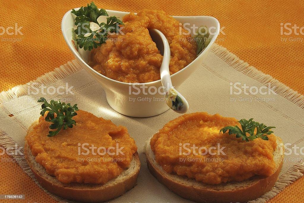 sandwich with marrow caviar royalty-free stock photo