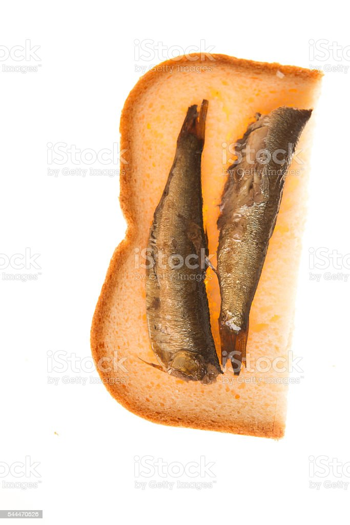 sandwich with of sprats on a isolated background stock photo