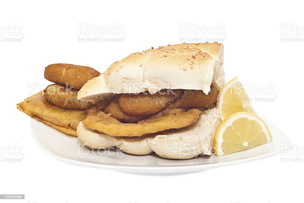 Sandwich with panelle and crocchette stock photo