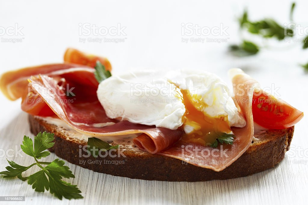 Sandwich with poached egg royalty-free stock photo