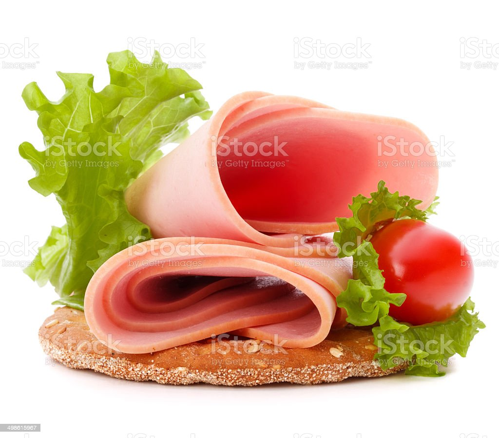 sandwich with pork ham on white background  cutout stock photo