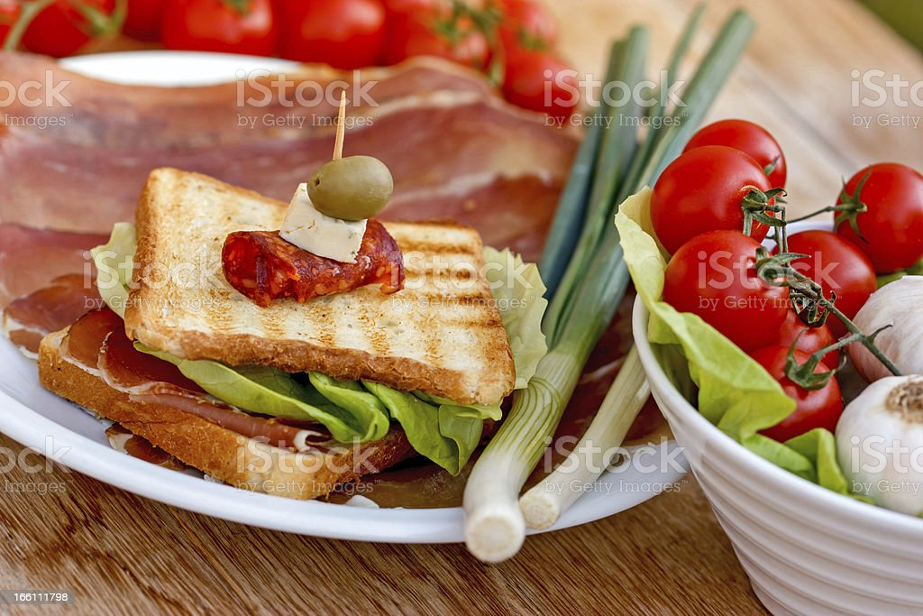 Sandwich with prosciutto - ham royalty-free stock photo